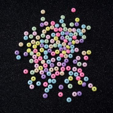 Plastik Oval Köşeli Boncuk - 25 GR - Mix Renk