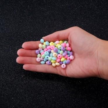Plastik Oval Köşeli Boncuk - 50 GR - Mix Renk
