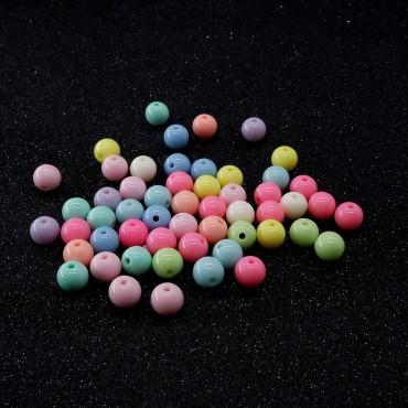 Plastik Düz Yuvarlak Boncuk - 25 GR - Mix Renk