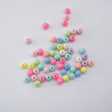 Plastik Düz Yuvarlak Boncuk - 50 GR - Mix Renk