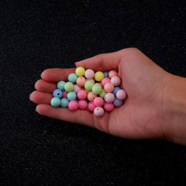Plastik Düz Yuvarlak Boncuk - 100 GR - Mix Renk
