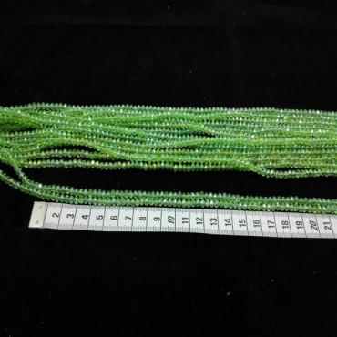 3 mm İpe Dizili Kristal Boncuk Çin Camı janjan açık yeşil
