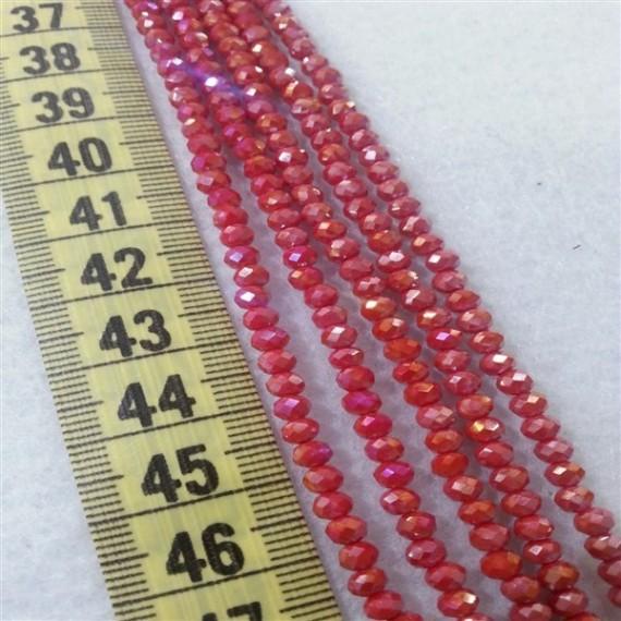 4 mm İpe Dizili Kristal Boncuk Çin Camı Janjan Kırmızı