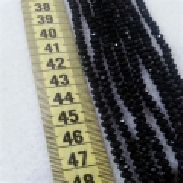 4 mm İpe Dizili Kristal Boncuk Çin Camı Parlak Siyah