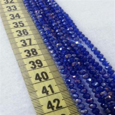 4 mm İpe Dizili Kristal Boncuk Çin Camı Şeffaf Koyu Mavi