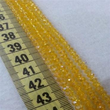 4 mm İpe Dizili Kristal Boncuk Çin Camı Şeffaf Sarı