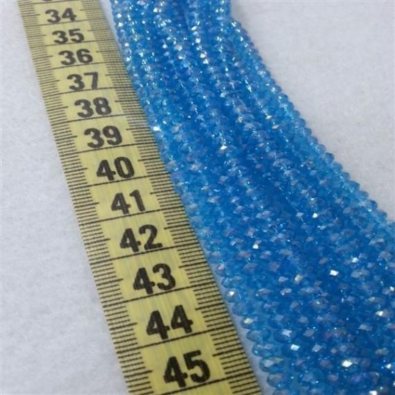 4 mm İpe Dizili Kristal Boncuk Çin Camı Şeffaf Mavi