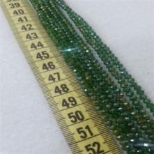 4 mm İpe Dizili Kristal Boncuk Çin Camı Çift Renk Yeşil