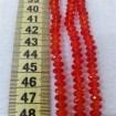 6mm İpe Dizili Kristal Boncuk Çin Camı Şeffaf açık kırmızı