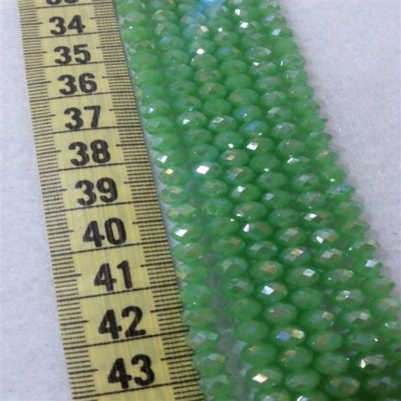 6mm İpe Dizili Kristal Boncuk Çin Camı Mat sedef yeşil