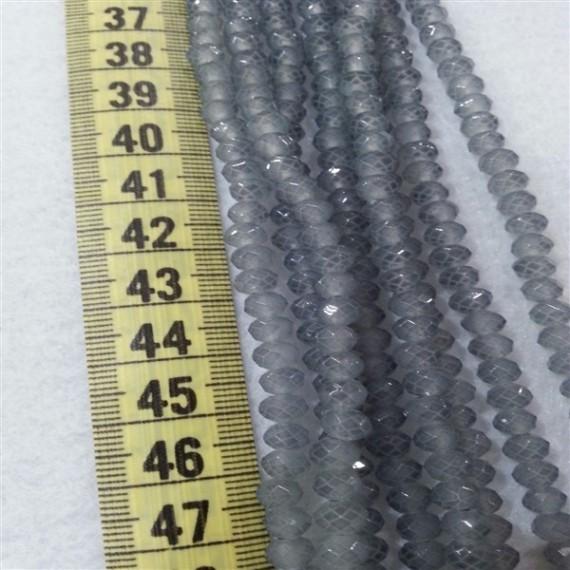6 mm İpe Dizili Kristal Boncuk Çin Camı mat  Duman Gri
