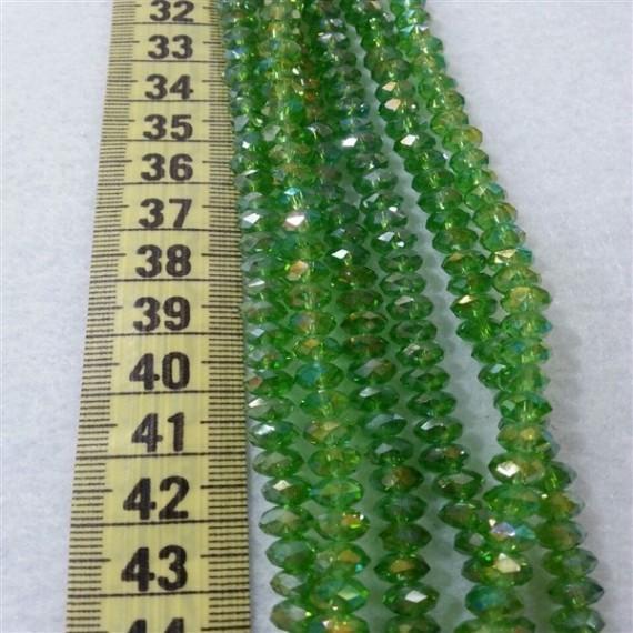 6 mm İpe Dizili Kristal Boncuk Çin Camı Janjan çim Yeşil