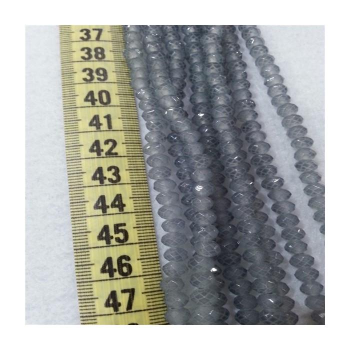 6 mm İpe Dizili Kristal Boncuk Çin Camı mat acık gri