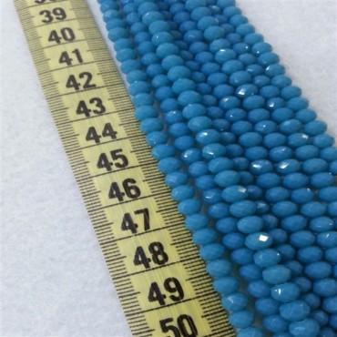 6 mm İpe Dizili Kristal Boncuk Çin Camı Mat Mavi