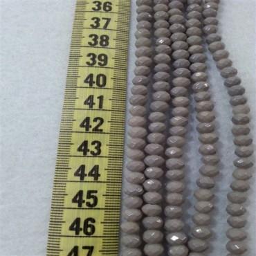 6 mm İpe Dizili Kristal Boncuk Çin Camı  Mat gri