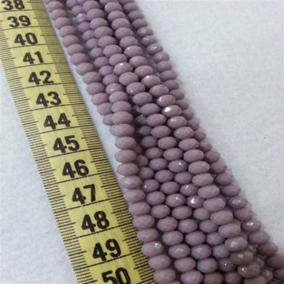 6 mm İpe Dizili Kristal Boncuk Çin Camı Mat Pastel Lila