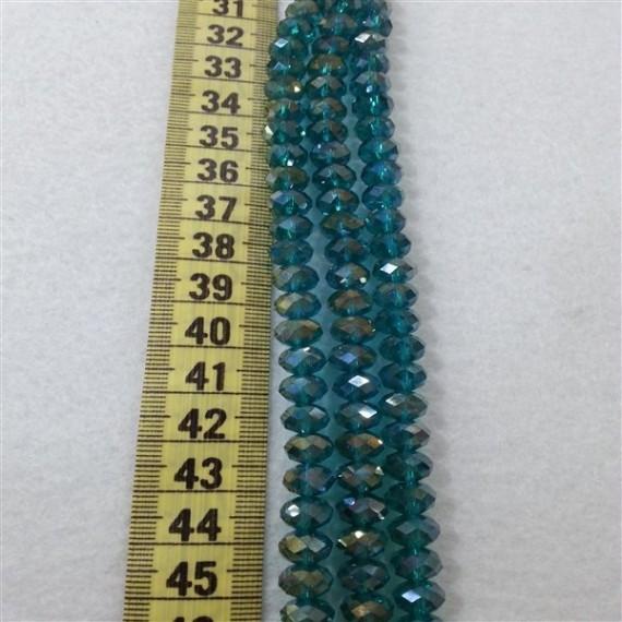 8 mm İpe Dizili Kristal Boncuk Çin Camı janjan petrol mavi