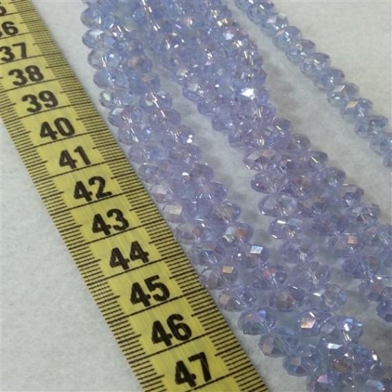 8 mm İpe Dizili Kristal Boncuk Çin Camı janjan açık lila