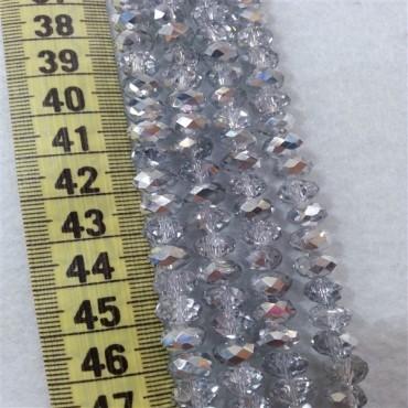 8 mm İpe Dizili Kristal Boncuk Çin Camı aynalı gümüş