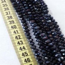 8 mm İpe Dizili Kristal Boncuk Çin Camı Janjan Siyah