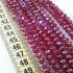 8 mm - İpe Dizili Kristal Boncuk - Çin Camı - janjanlı kırmızı