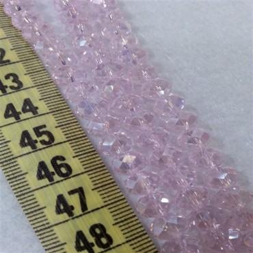 8 mm İpe Dizili Kristal Boncuk Çin Camı janjanlı açık pembe