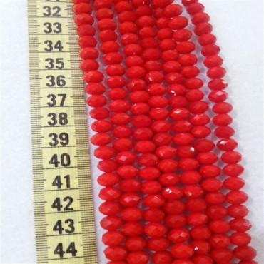 8 mm İpe Dizili Kristal Boncuk Çin Camı mat açık kırmızı