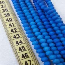 8 mm İpe Dizili Kristal Boncuk Çin Camı Mumlu Neon Mavi