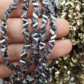 6mm üçgen ipe dizili kristal cam boncuk çin camı kaplama gümüş