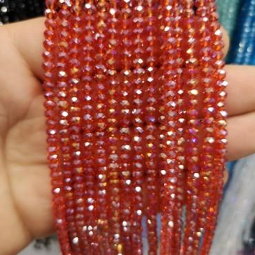 4 mm İpe Dizili Kristal Boncuk çin camı janjan açık kırmızı