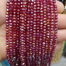 4 mm İpe Dizili Kristal Boncuk çin camı janjan koyu kırmızı