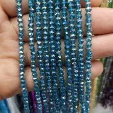 4 mm İpe Dizili Kristal Boncuk çin camı janjan petrol mavi