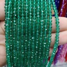 4 mm ipe dizili kristal boncuk çin camı şeffaf zümrüt yeşil