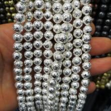 Hematit Lav Boncuk (Pütürlü) Gümüş