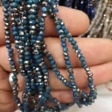 3 mm İpe Dizili Kristal Boncuk  Çin Camı Çift Renk Mavi