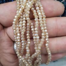 3 mm İpe Dizili Kristal Boncuk Çin Camı mat janjan koyu krem