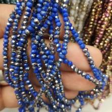 3 mm İpe Dizili Kristal Boncuk  Çin camı Çift Renk Açık Mavi