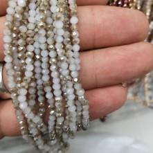 3 mm İpe Dizili Kristal Boncuk  Çin Çift Açık Altın Sarısı