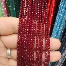 3 mm İpe Dizili Kristal Boncuk  Çin Camı şeffaf koyu kırmızı