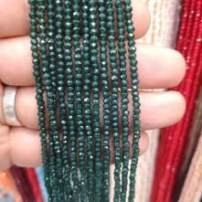 3 mm İpe Dizili Kristal Boncuk  Çin Camı mat Koyu Yeşil