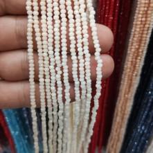 3 mm İpe Dizili Kristal Boncuk Çin Camı Mat Krem