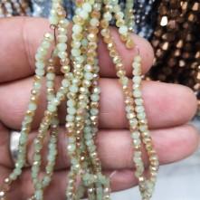 3 mm İpe Dizili Kristal Boncuk Çin Camı Çift Renk Bej