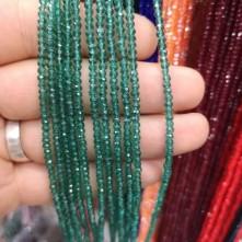 3 mm İpe Dizili Kristal Boncuk Çin Camı şeffaf Petrol yeşil