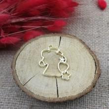 At Figürlü İçi Kalp Yıldız Desenli Gold Reçine Metal Kolye Ucu