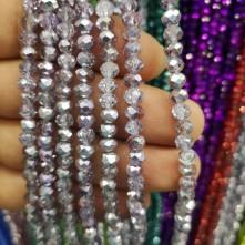 6 mm ipe dizili kristal Boncuk Çin Camı aynalı gümüş