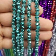 6 mm ipe dizili kristal Boncuk Çin Camı aynalı turkuaz