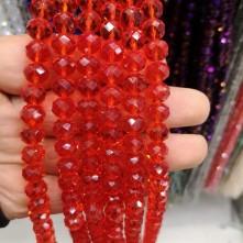 10 mm Kristal Boncuk çin camı şeffaf açık kırmızı