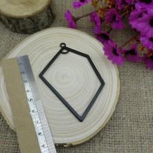 Geometrik 5 Köşe Siyah Metal Kolye Ucu