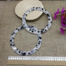 Reçine Görünümlü Çanta Sapı - Beyaz Siyah