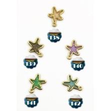 Reçine Metal Kolye Ucu - Renkli Oval Yıldız